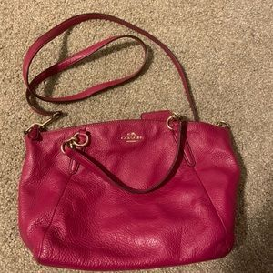 Pink coach leather crossbody bag